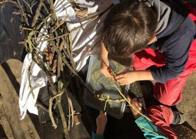 bambini che giocano con elementi naturali